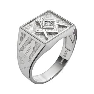 Sterling Silver Diamond Accent Masonic Ring - Men