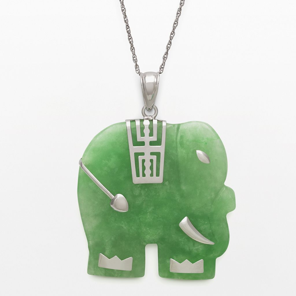 Sterling Silver Jade Elephant Pendant