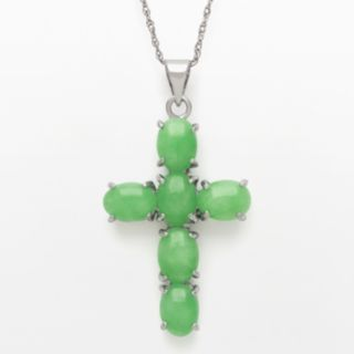Sterling Silver Jade Cross Pendant