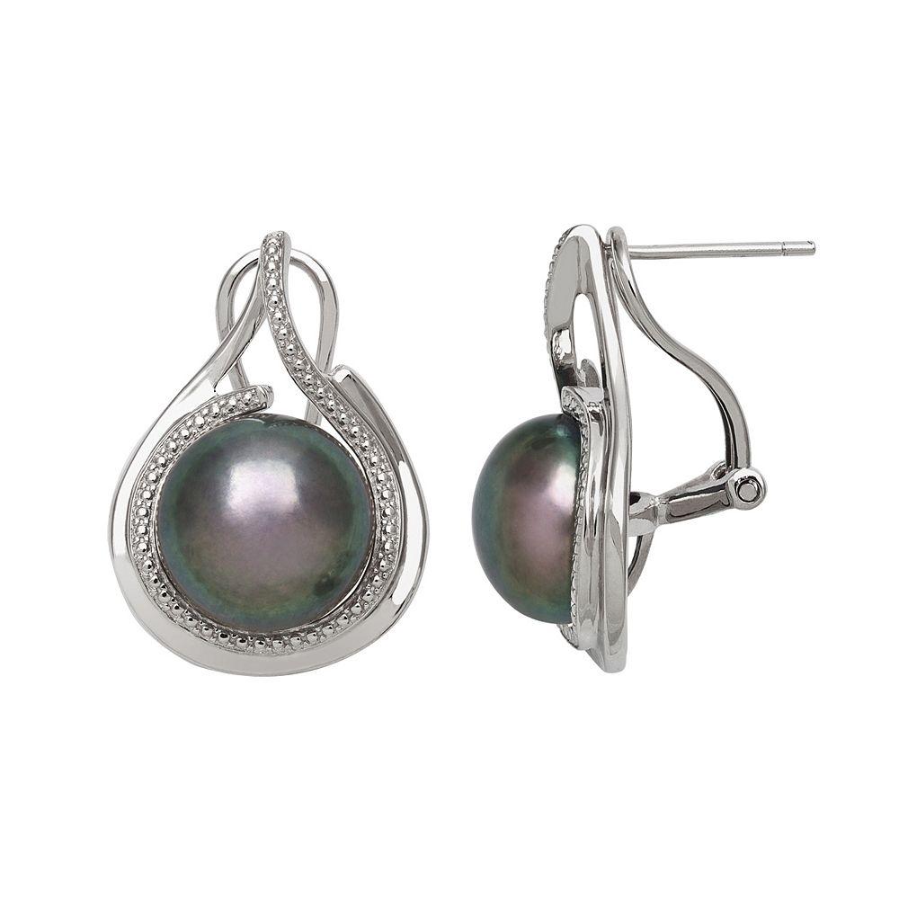 Sterling Silver Dyed Freshwater Cultured Pearl Teardrop Stud Earrings
