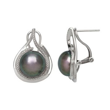 Sterling Silver Dyed Freshwater Cultured Pearl Teardrop Stud Earrings