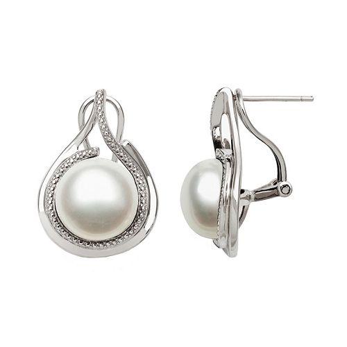 Sterling Silver Freshwater Cultured Pearl Teardrop Stud Earrings