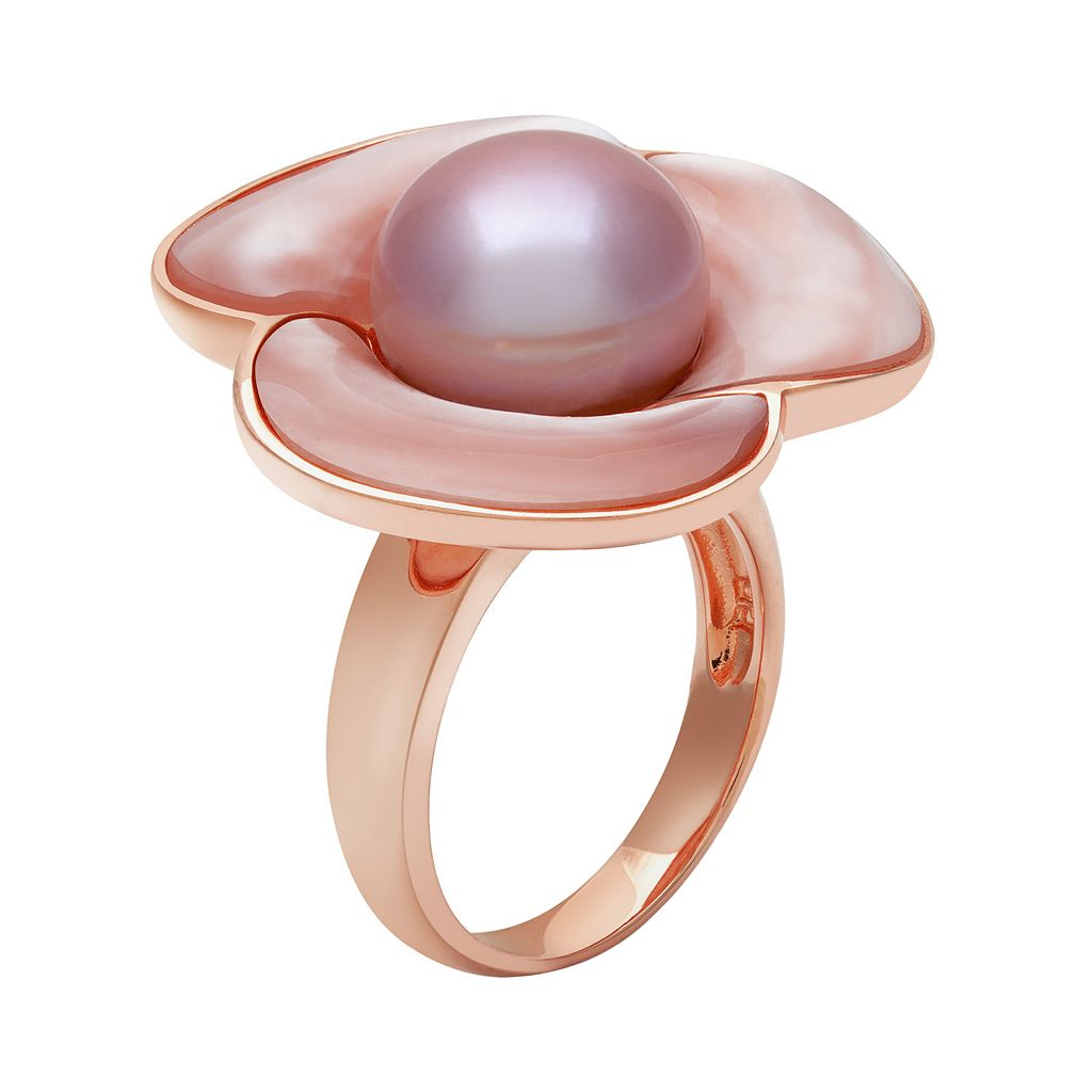 14k Rose Gold Over Silver Dyed Freshwater Cultured Pearl and Mother-of-Pearl Flower Ring