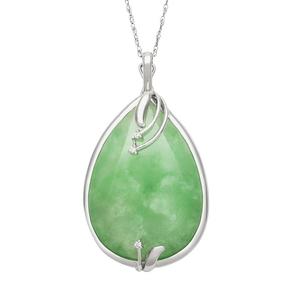 c48415e04061e3 Sterling Silver Jade & Certified Diamond Accent Teardrop Pendant