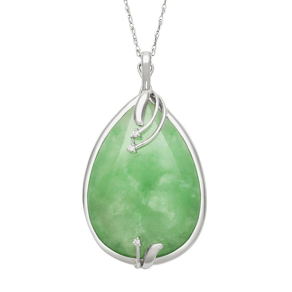 Sterling Silver Jade & Certified Diamond Accent Teardrop Pendant