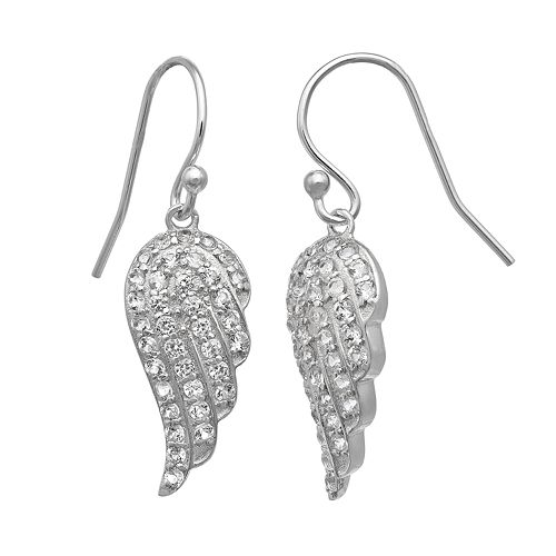 Sterling Silver Lab-Created White Sapphire Angel Wing Drop Earrings
