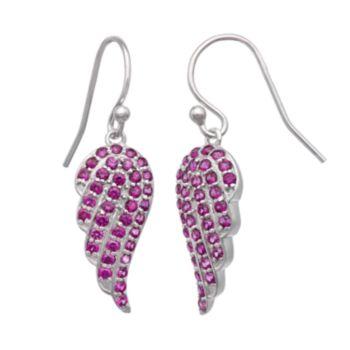 Sterling Silver Lab-Created Ruby Angel Wing Drop Earrings