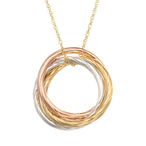 14k Gold Over Silver & Sterling Silver Tri-Tone Interlocking Circle Pendant