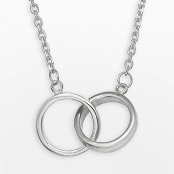 Sterling Silver Interlocking Circle Infinity Necklace