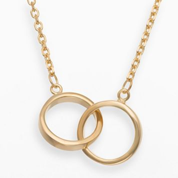 14k Gold Over Silver Interlocking Circle Necklace