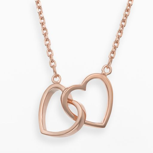 14k Rose Gold Over Silver Interlocking Heart Necklace