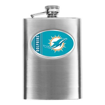 Miami Dolphins Stainless Steel Hip Flask