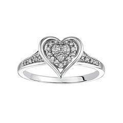 Love Always Diamond Heart Halo Engagement Ring in Sterling Silver (1/6 ctT.W.)