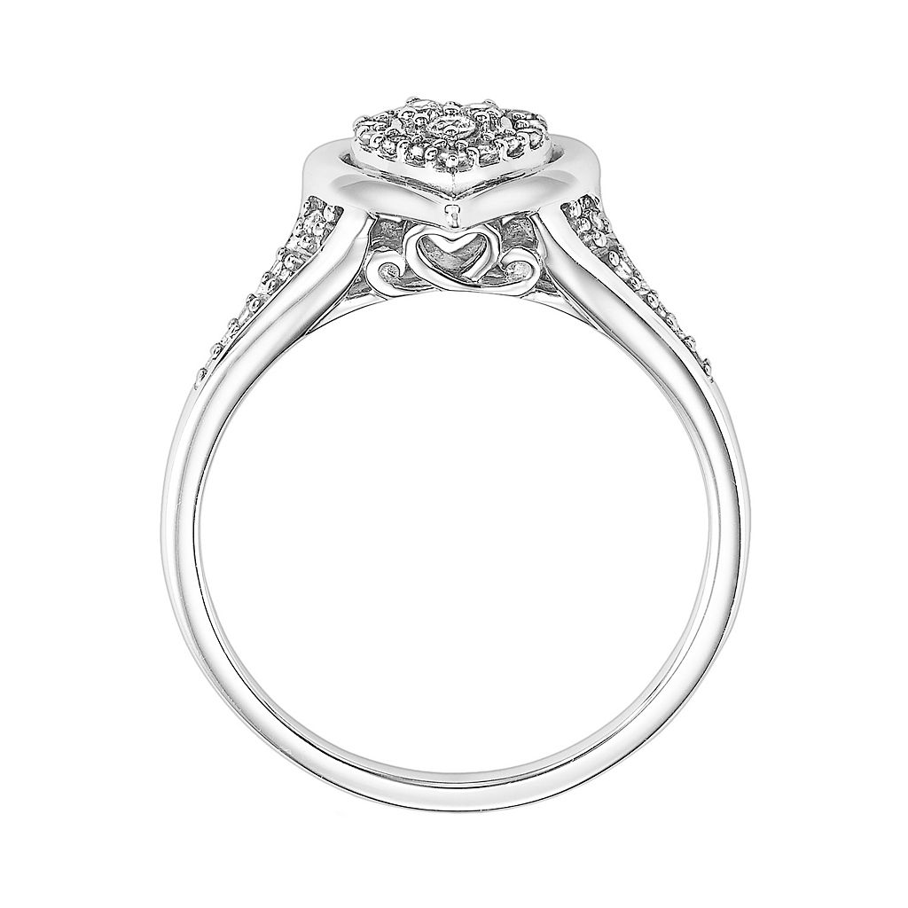 Love Always Diamond Heart Halo Engagement Ring in Sterling Silver (1/6 ct. T.W.)