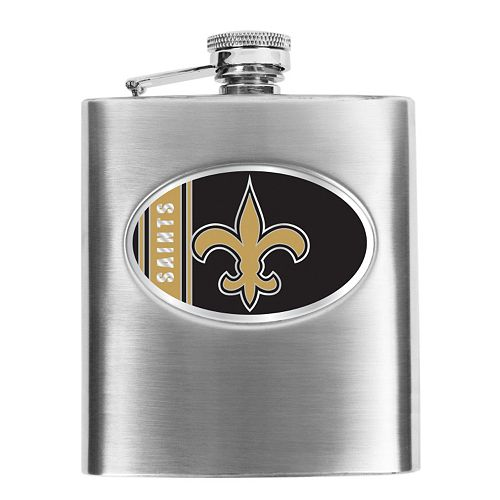 New Orleans Saints 6-Ounce Stainless Steel Hip Flask