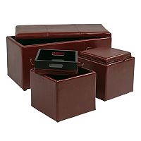 Office Star Products 3 pc Eco-Leather Ottoman Set