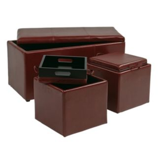 Office Star Products 3-pc. Eco-Leather Ottoman Set