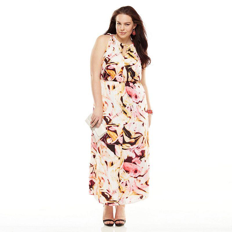 Jennifer Lopez Satin Halter Maxi Dress - Women's Plus