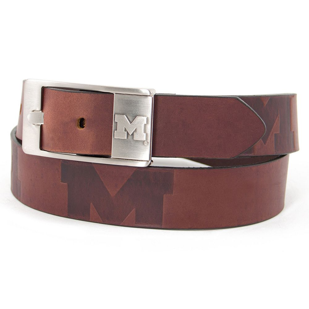Men's Michigan Wolverines Brandish Leather Belt