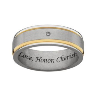 Sweet Sentiments Titanium and Gold Ion Diamond Accent Wedding Band - Men