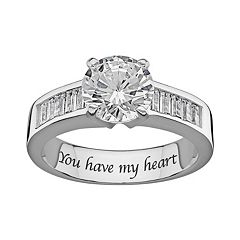 Sweet Sentiments Sterling Silver Cubic Zirconia Engagement Ring