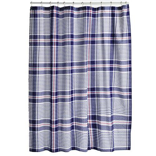 Americana Plaid Fabric Shower Curtain