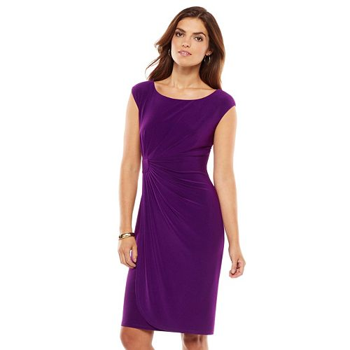 Chaps Solid Faux-Wrap Dress - Women's