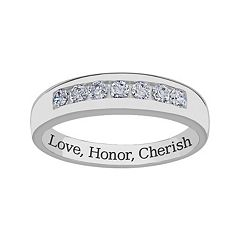 Sweet Sentiments Sterling Silver Cubic Zirconia Wedding Band - Men