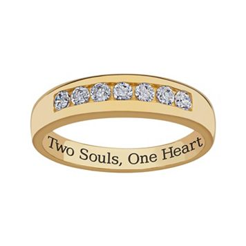 Sweet Sentiments 18k Gold Over Sterling Silver Cubic Zirconia Wedding Band - Men