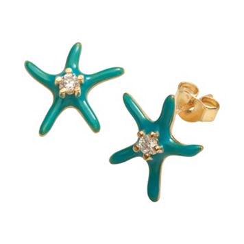 Sophie Miller 14k Gold Over Silver Cubic Zirconia Starfish Stud Earrings