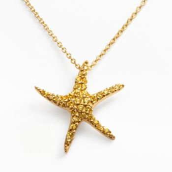 Sophie Miller 14k Gold Over Silver Cubic Zirconia Starfish Pendant