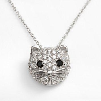 Sophie Miller Sterling Silver Black & White Cubic Zirconia Cat Pendant