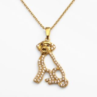 Sophie Miller 14k Gold Over Silver Black and White Cubic Zirconia Dog Pendant