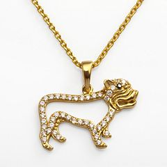 Sophie Miller 14k Gold Over Silver Black & White Cubic Zirconia Dog Pendant
