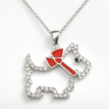 Sophie Miller Sterling Silver Black and White Cubic Zirconia Scottie Dog Pendant