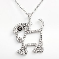 Sophie Miller Sterling Silver Black & White Cubic Zirconia Dog Pendant