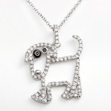 Sophie Miller Sterling Silver Black & White Cubic Zirconia Dog Pendant