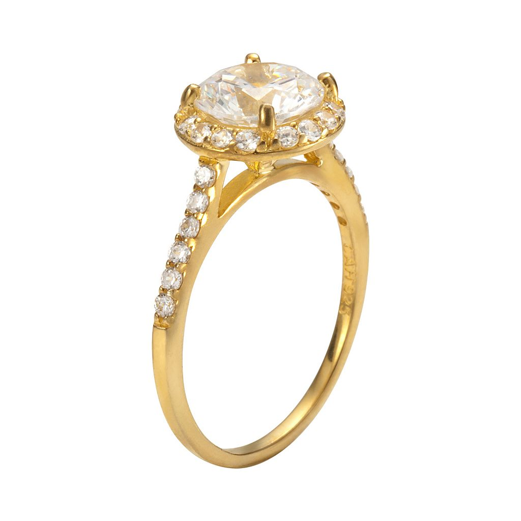 Sophie Miller 14k Gold Over Silver Cubic Zirconia Halo Ring