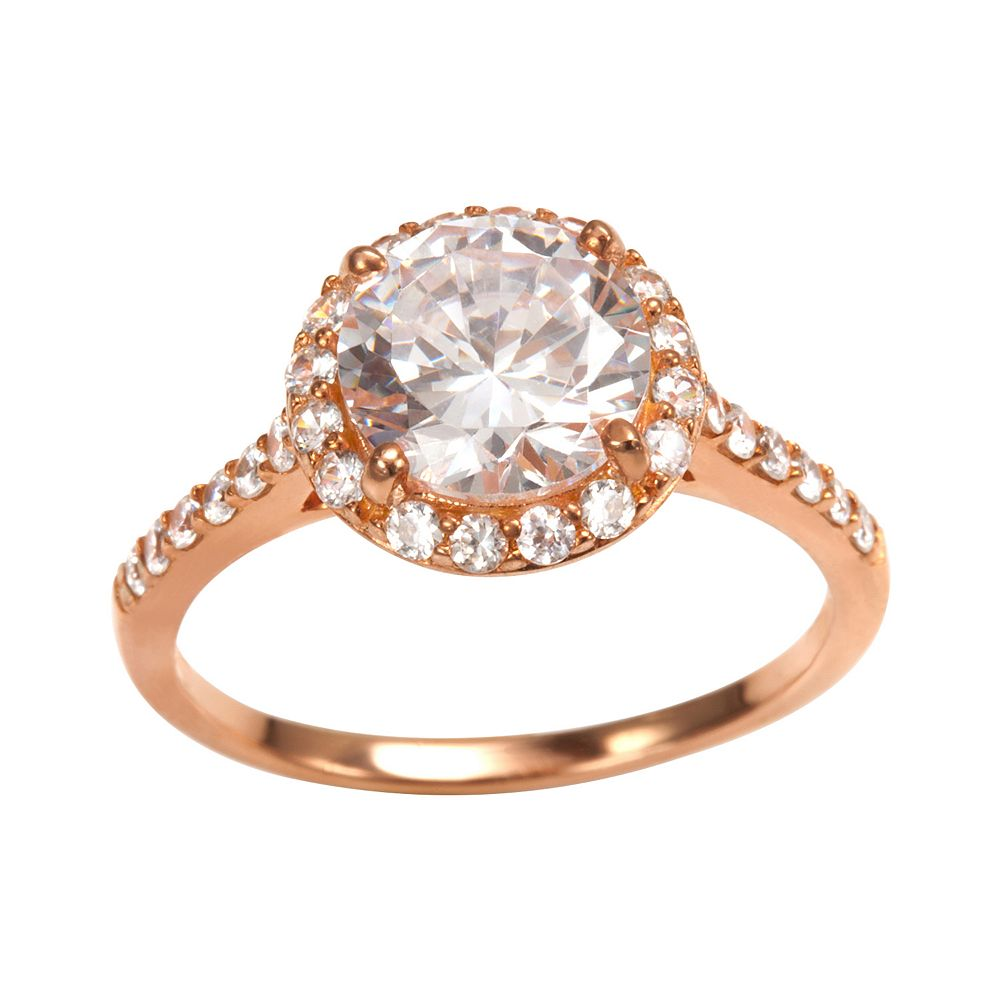 Sophie Miller 14k Rose Gold Over Silver Cubic Zirconia Halo Ring