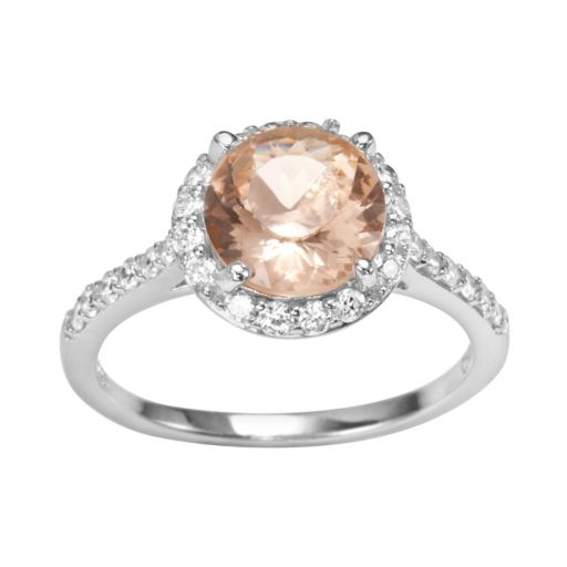 Sophie Miller Sterling Silver Simulated Morganite and Cubic Zirconia Halo Ring