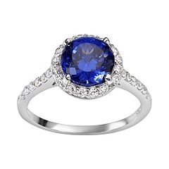 Sophie Miller Sterling Silver Blue & White Cubic Zirconia Halo Ring
