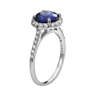 Sophie Miller Sterling Silver Blue and White Cubic Zirconia Halo Ring