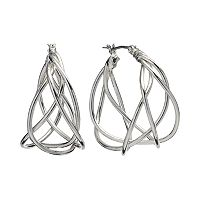 Dana Buchman Silver Tone Woven Hoop Earrings