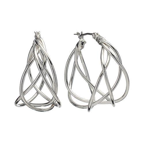 Dana Buchman Silver Tone Woven Hoop Earrings