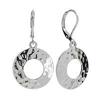 Dana Buchman Silver Tone Hammered Circle Drop Earrings