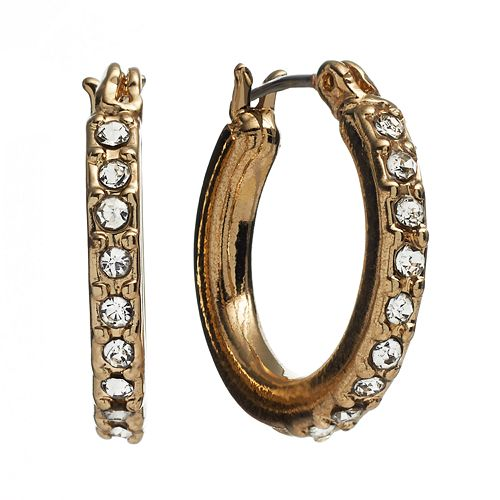 Dana Buchman Gold Tone Simulated Crystal Hoop Earrings