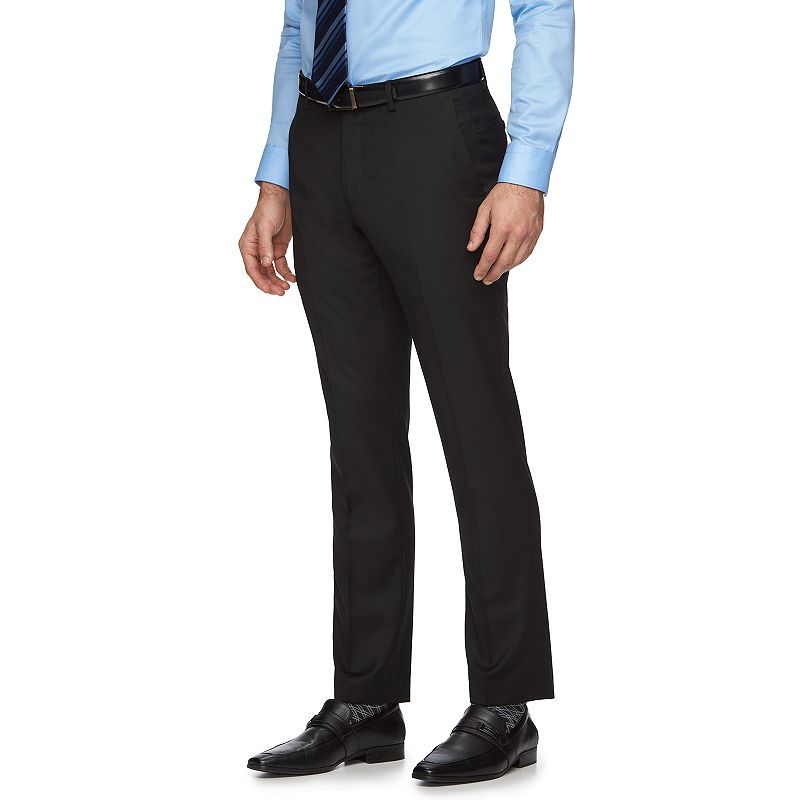 Marc Anthony Slim-Fit Shadow-Striped Wool Flat-Front Black Suit Pants - Men