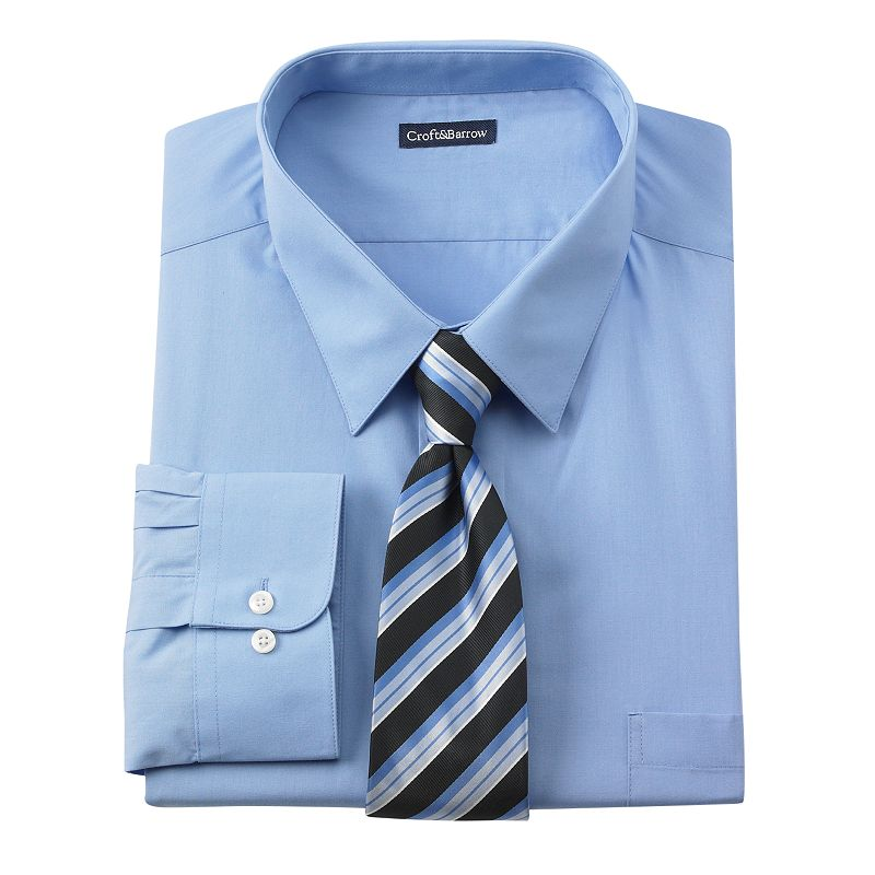 Croft barrow classic fit point collar dress shirt for Discount big and tall dress shirts
