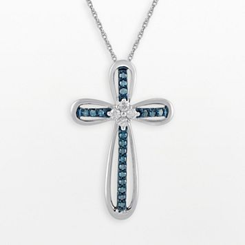 10k White Gold 1/5-ct. T.W. Blue & White Diamond Cross Pendant