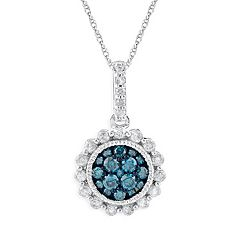 10k White Gold 1/2 ctT.W. Blue & White Diamond Flower Pendant